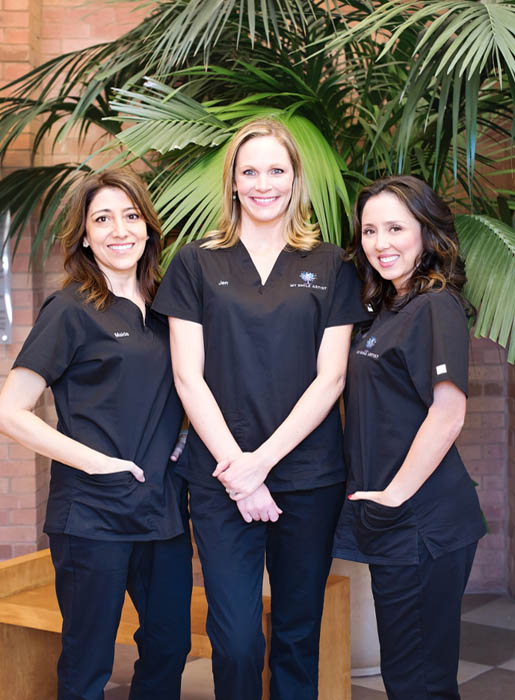 Photo of the dental hygienists (three members) at My Smile Artist, the office of Dr. Imam and Dr. Schroder.